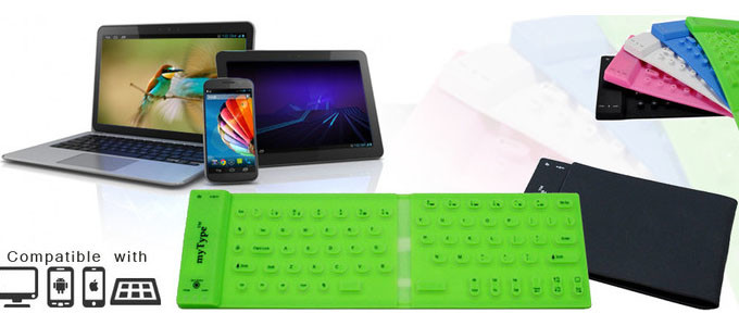Portable collapsible myType wireless Bluetooth keyboard